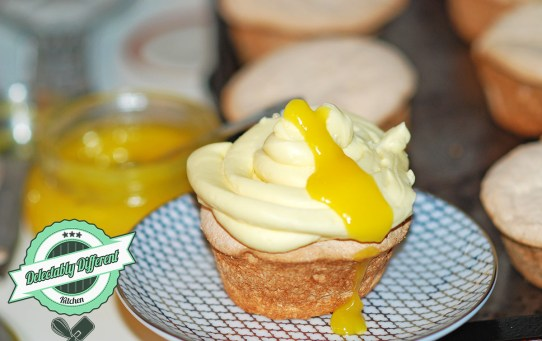 Lemon Curd Butter Cream Angel Food Cupcakes without gluten celiac