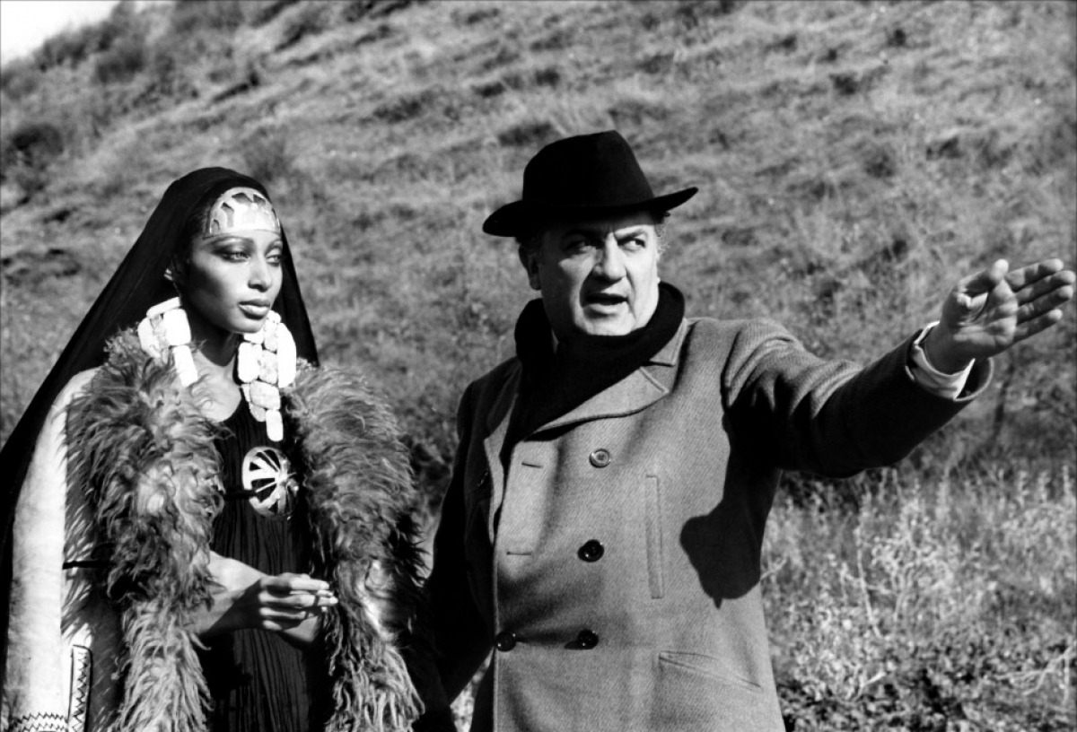 Donyale Luna w/ director-Federico Fellini on the set of Satyricon, 1969