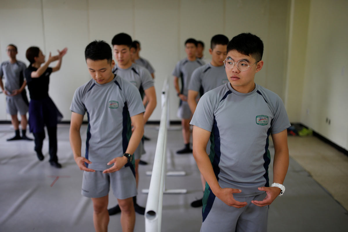 South Korean soldiers take part in a ballet class at a military base near the demilitarized zone separating the two Koreas | Kim Hong-Ji/Reuters