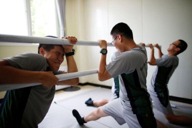 South Korean soldiers perform splits in ballet class | Kim Hong-Ji/Reuters