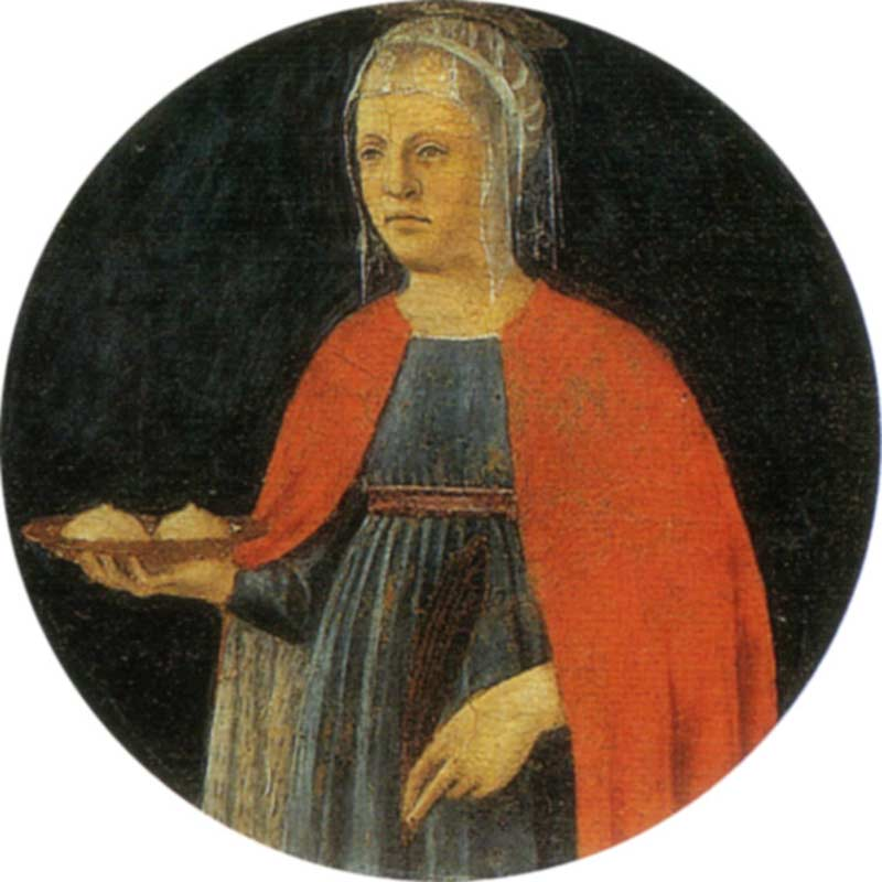 Saint Agatha bearing her severed breasts on a platter, Piero della Francesca (c. 1460–70) | source: Wikimedia Commons