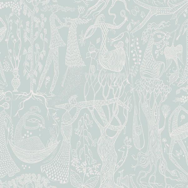 Papel pintado Poeme d´Amour en fondo menta de la colección Scandinavian Designers II de Borastapeter