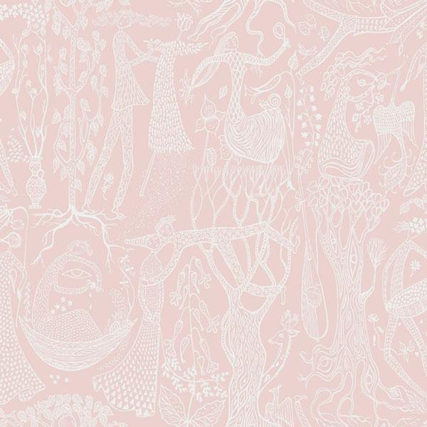 Papel pintado Poeme d´Amour en fondo rosa de la colección Scandinavian Designers II de Borastapeter