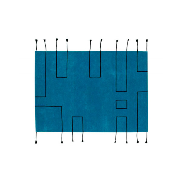Alfombra de lana azul Nordic Lines de Lorena Canals