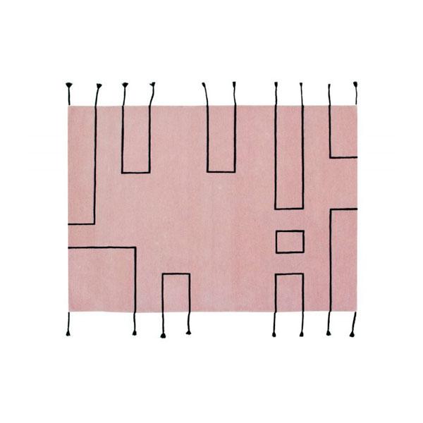 Alfombra de lana rosa Nordic Lines de Lorena Canals