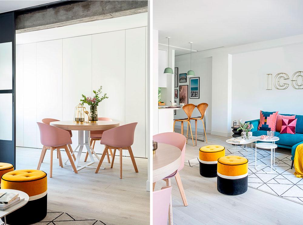 zona de salón y comedor de un piso diseñado y decorado por Deleite Design