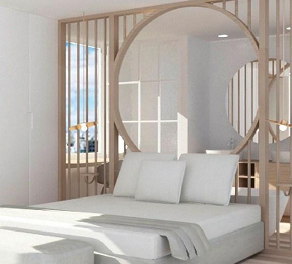 proyecto de diseño de una jabitación de hotel con baño abierto