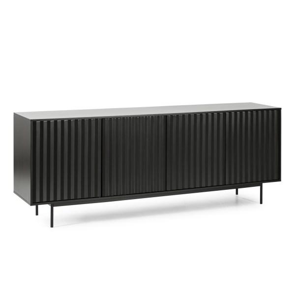 mueble de comedor con diseño alistonado