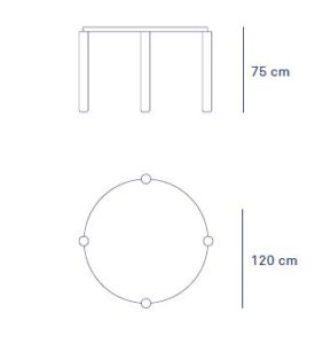 medidas mesa redonda Atlas