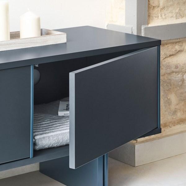 mueble de televisión lacado en gris y azul