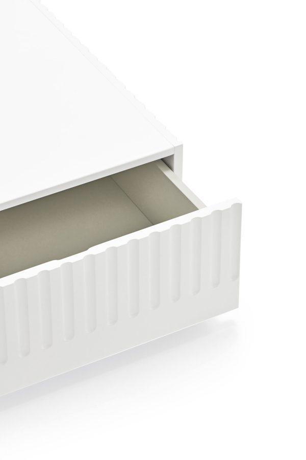 detalle cajón mesa de centro Doric de Teulat en acabado blanco