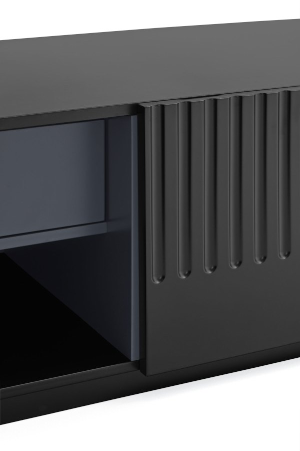 detalle interior mueble de tv Doric negro de Teulat