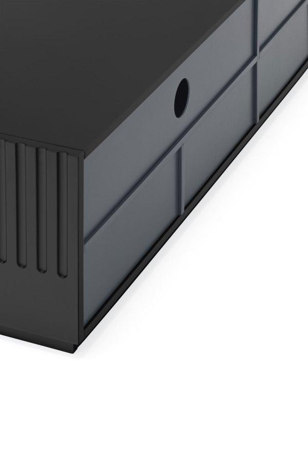 detalle trasera mueble de tv Doric negro de Teulat