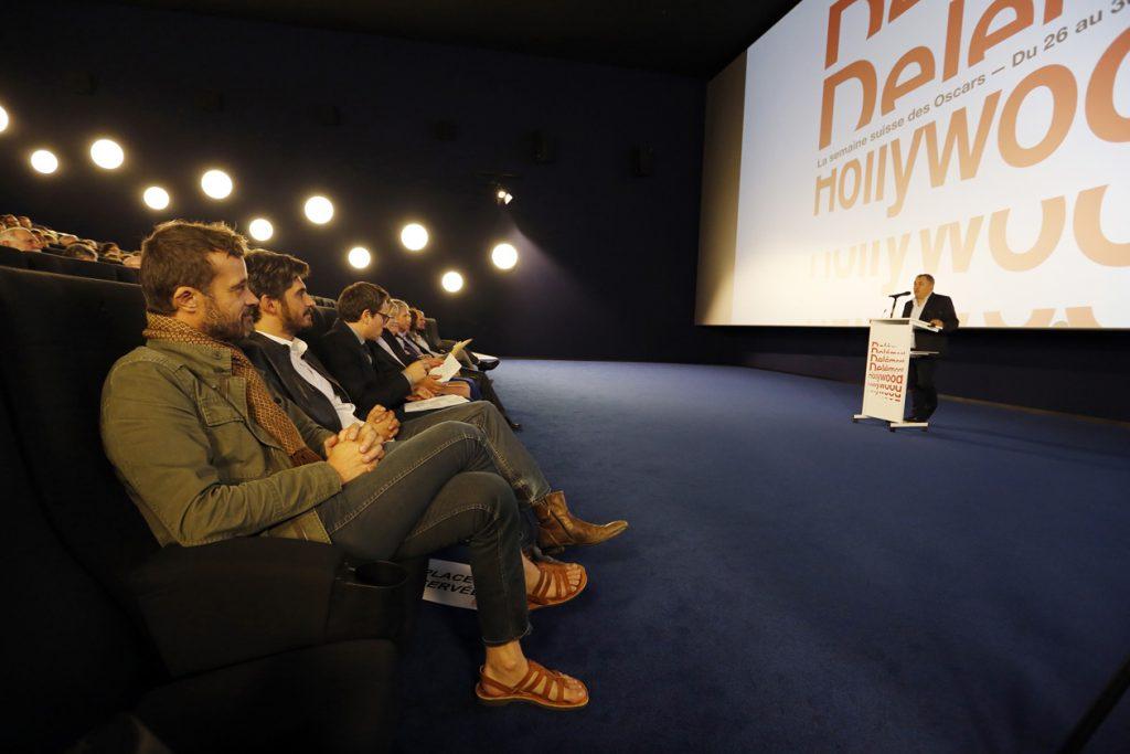 Le festival DelŽmont-Hollywood rŽcompense le film d'animation Ma vie de courgette, DelŽmont 29 septembre 2016. Photo au premier plan: Claude Barras, rŽalisateur du film et Max Karli producteur du film . (Roger Meier)