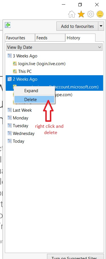 delete browsing history one by one on internet explorer - step 2