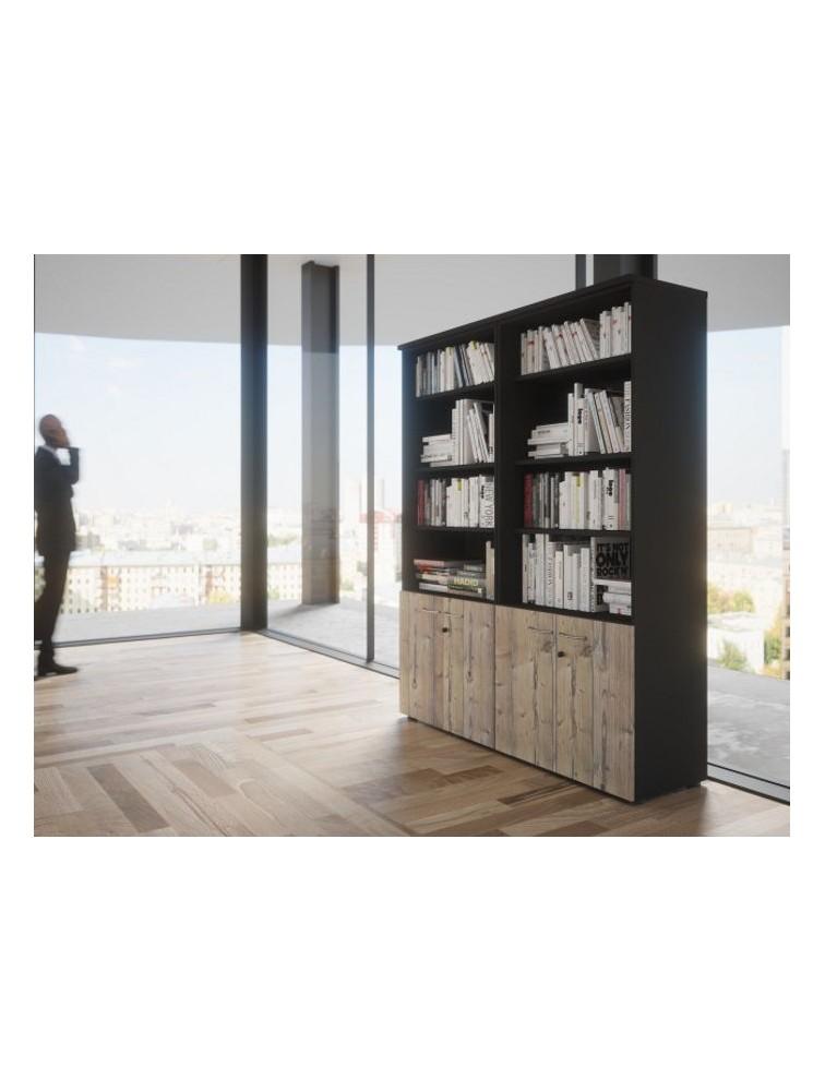 bibliotheque quietude avec portes basses h 201 cm