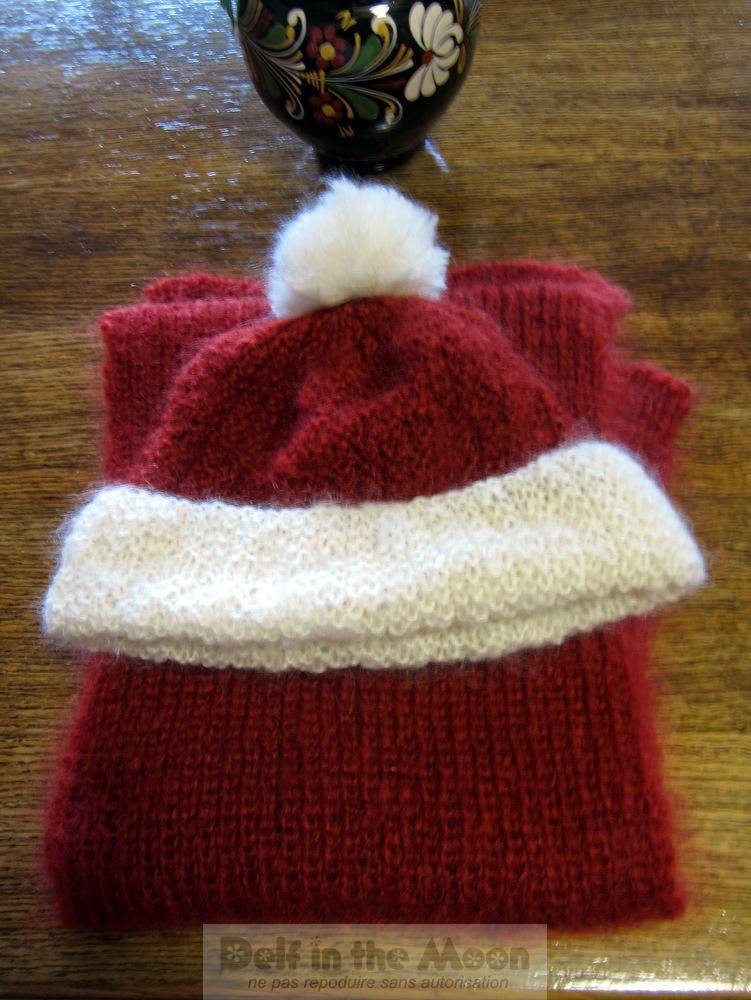 Bonnet et écharpe rouille