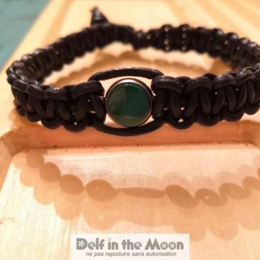 Bracelet macramé et malachite