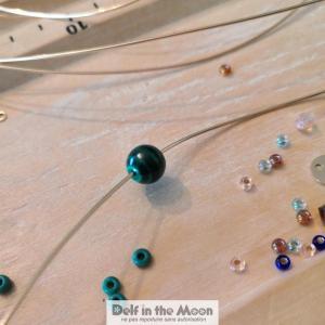 malachite, breloque gold filled, svarowski, perles de verres