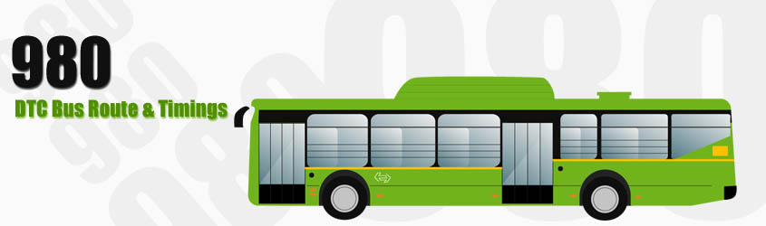 980 Delhi DTC City Bus Route and DTC Bus Route 980 Timings with Bus Stops