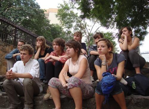 French students at Agrasen Ki Baoli