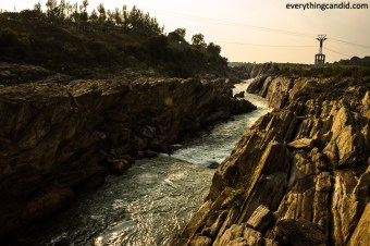 Narmada River in Bhedaghat. Marble rocks.