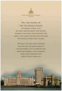 Taj Employees Pledge. Image courtesy Taj Hotels