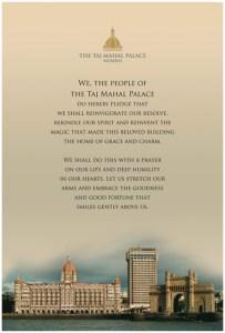 Taj Employees Pledge. Image courtesy Taj Hotels