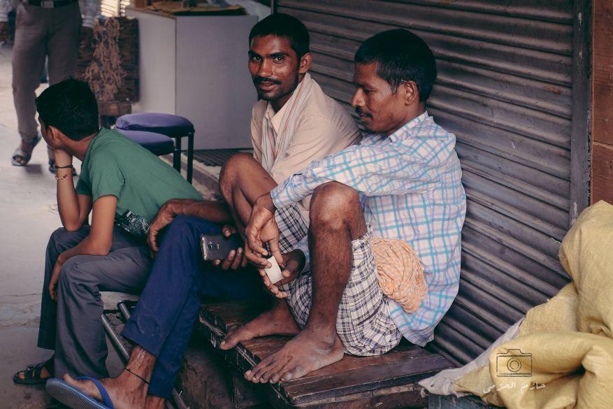 Workers taking a break in old bazar