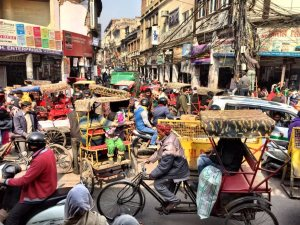Crowded streets in Old Delhi