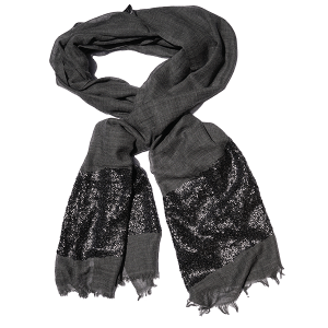 Shawl-wool-sequins-charcoal grey-drape