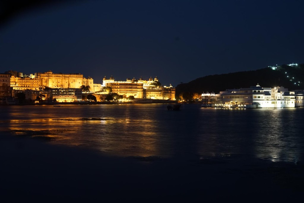 Lit up Udaipur at night