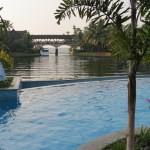 Kumarakom zuri hotel pool and the backwaters