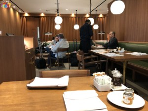 Breakfast seating at Cathay Pacific first class Lounge Heathrow Terminal 3