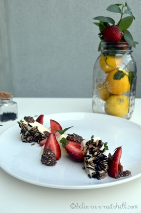 Limoncello pannacotta with puffed wild rice and fresh strawberries