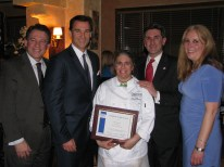 Jeanine DiMenna of Page One Restaurant accepts a certificate honoring her father, Joseph Mansi. The proceeds of the 2013 dinner were donated to the Diabetes Research Institute (DRI) in Joe's memory. Pictured with Jeanine, are Nassau County Legislator Fran Becker, Tom Suozzi, Nassau County Legislator Wayne Wink and Nassau County Legislator Delia DeRiggi-Whitton, DRI board member and Cooking for a Cure fundraiser chair.