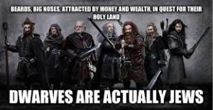 Plnovousy, velké frňáky, láska ke zlatu a bohatství, hledání Svaté země - trpaslíci jsou vlastně Židé