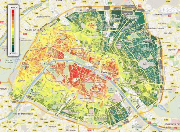 Cenová mapa nemovitostí, Paříž 2018