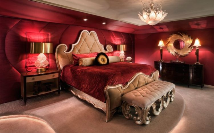 Romantic deep red master bedroom design