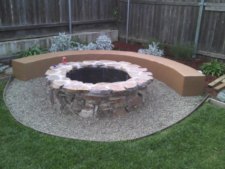 Cinder block and brick fire pit