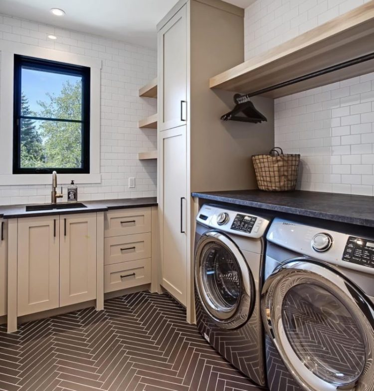 Folding area in laundry room