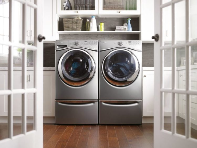 Front loading laundry room