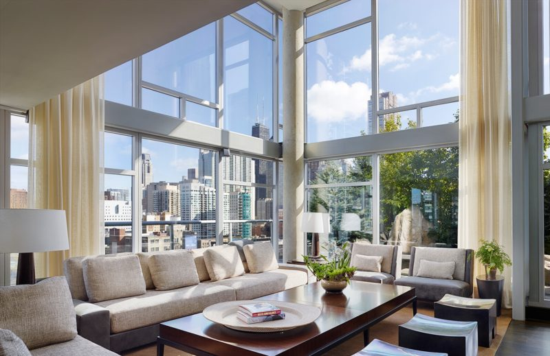 Room floor to ceiling windows