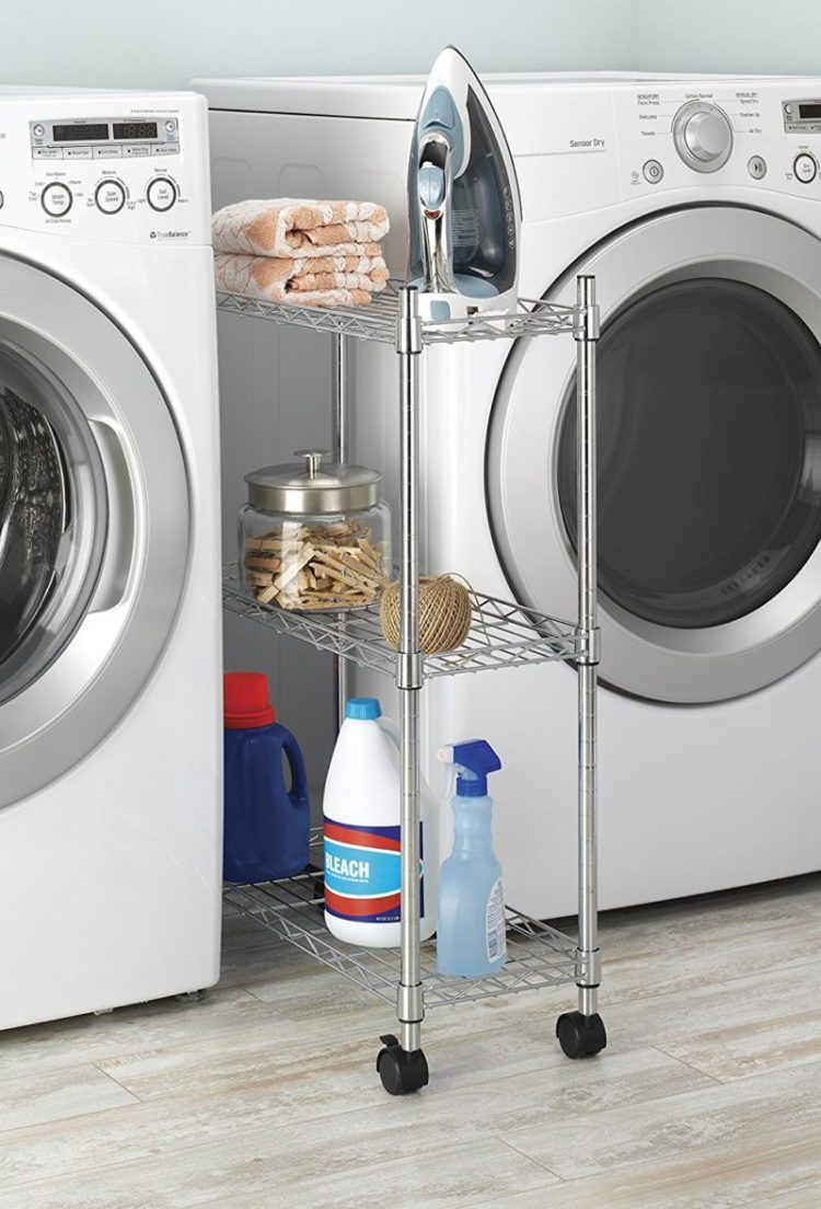 Vertical sliding organizer for laundry room