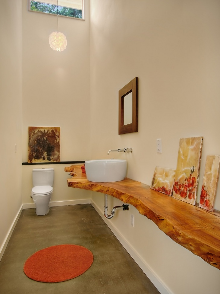 Wooden Half Bathroom Interior