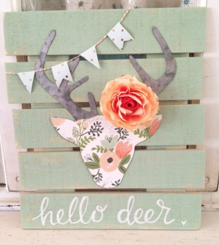 Floral Deer Head Pallet Art Girl Room Decor