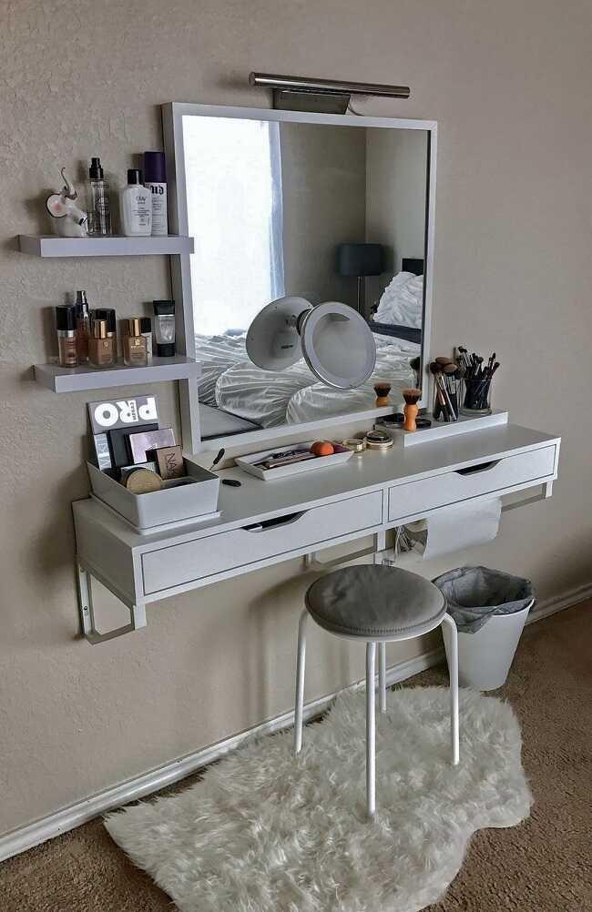 diy small makeup desk in bedroom ideas