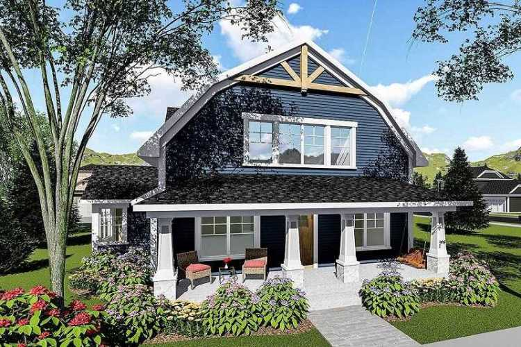 Bed house plan with gambrel roof