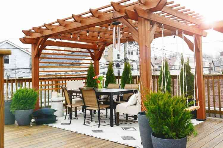 Lowes pergola rooftop porch makeover
