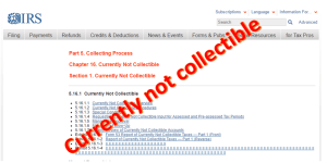 IRS currently not collectible status